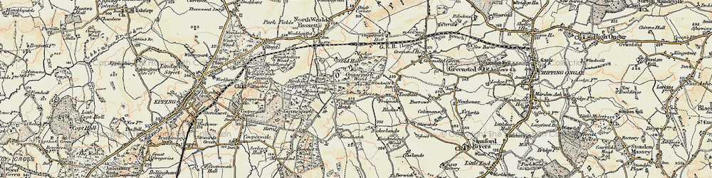 Old map of Woodhatch in 1898