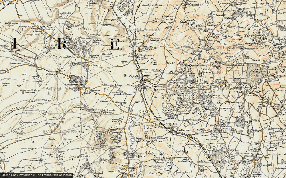 Old Map of Historic Map covering Windmillhill Down in 1897-1899
