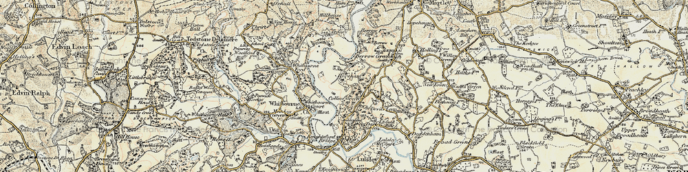 Old map of Whitbourne Ford in 1899-1902