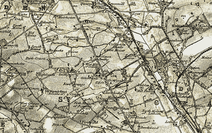 Old map of Whitehall in 1907-1908