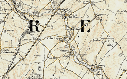 Old map of Coln Rogers in 1898-1899
