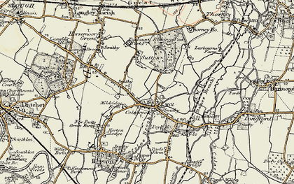 Old map of Colnbrook in 1897-1909