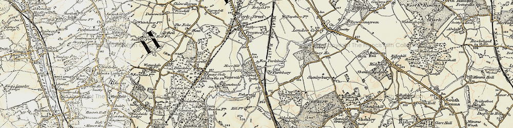 Old map of Colney Street in 1897-1898