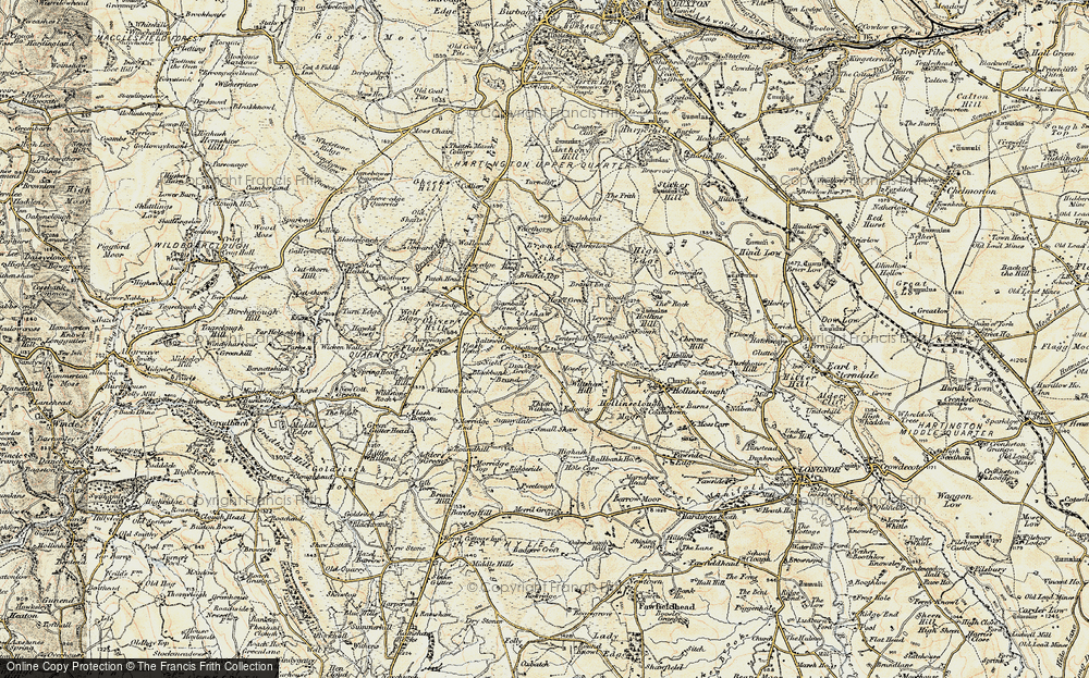 Old Map of Historic Map covering Axe Edge End in 1902-1903
