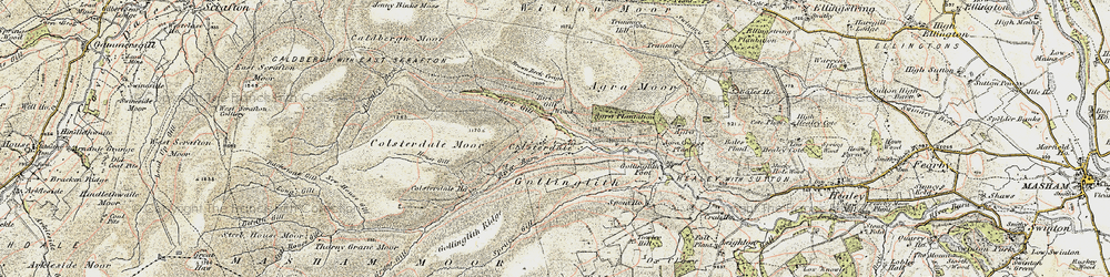 Old map of Agra Moor in 1903-1904
