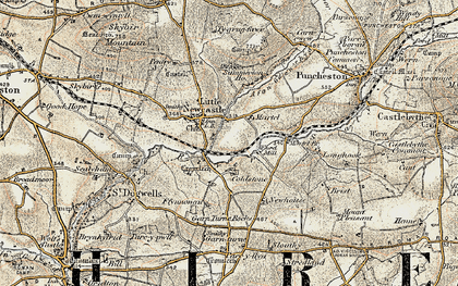 Old map of Afon Glan-rhyd in 1901-1912