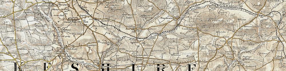 Old map of Afon Glan-rhyd in 1901-1912