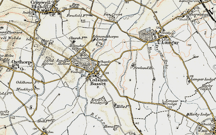 Old map of Colston Bassett in 1902-1903