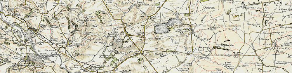 Old map of Colwell in 1901-1903
