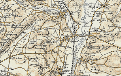Old map of Colyford in 1899
