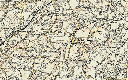 Old map of Combe Common in 1897-1909