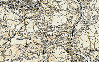 Old map of Combe Down in 1898-1899