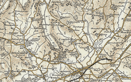 Old map of Combe Raleigh in 1898-1900