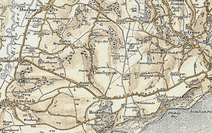 Old map of Combpyne in 1899