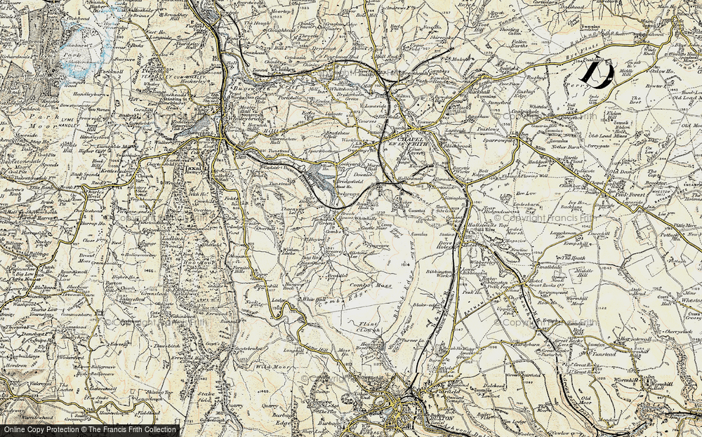 Old Map of Historic Map covering Allstone Lee in 1902-1903
