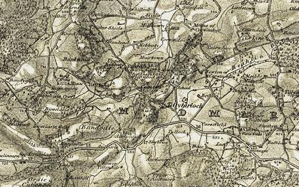 Old map of Tillybirloch in 1908-1909