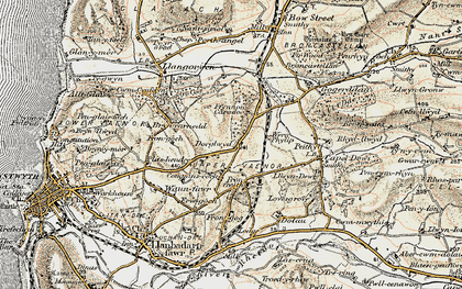 Old map of Afon Clarach in 1901-1903