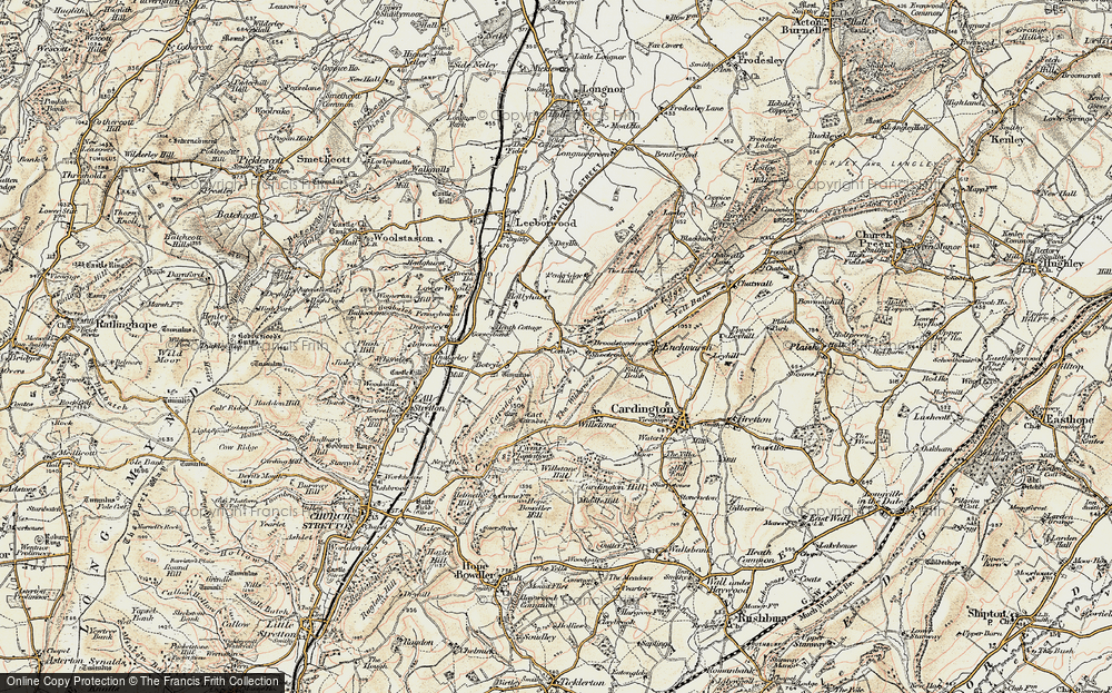 Old Map of Historic Map covering Lawley, The in 1902-1903