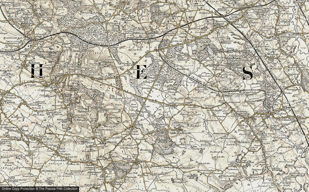 Old Map of Historic Map covering Abbots Moss in 1902-1903