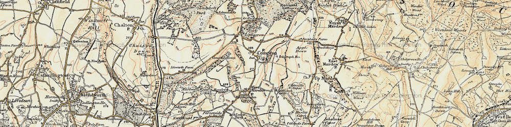 Old map of Compton in 1897-1900