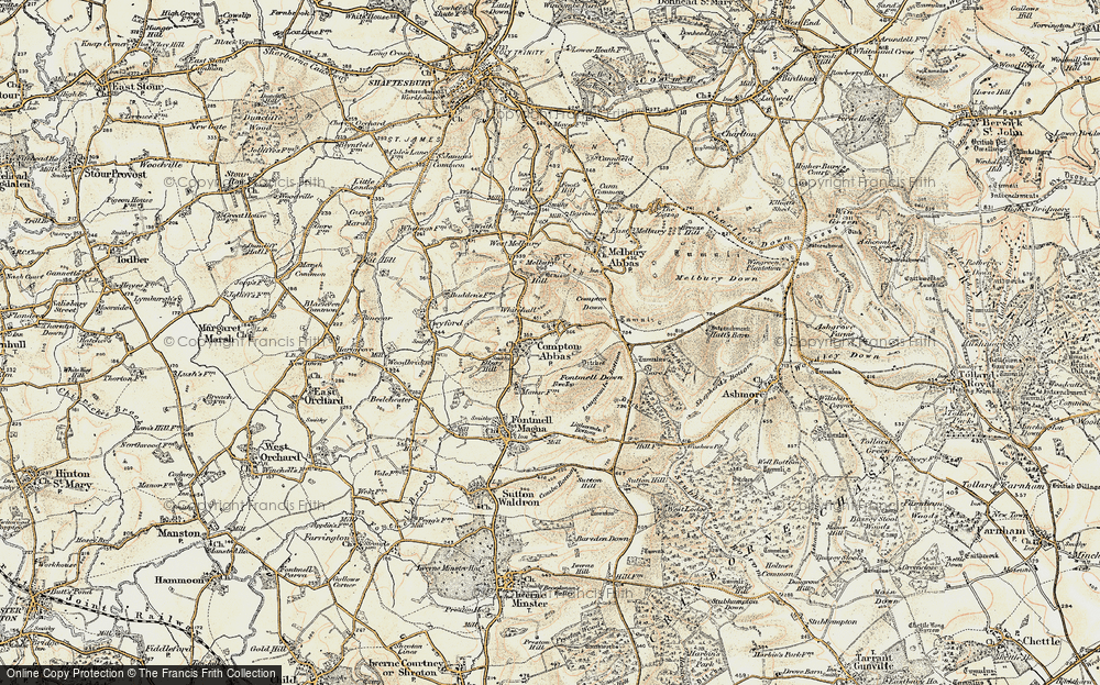 Old Map of Compton Abbas, 1897-1909 in 1897-1909