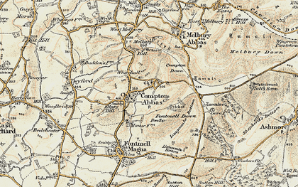 Old map of Compton Abbas in 1897-1909