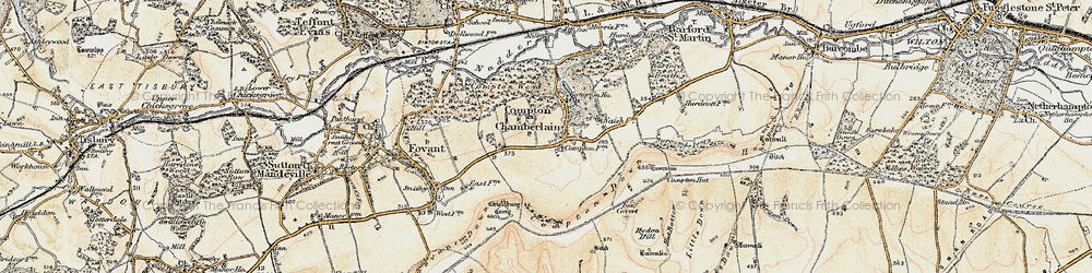 Old map of Compton Chamberlayne in 1897-1899