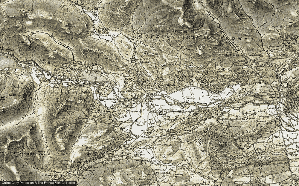 Old Map of Historic Map covering Balmuick in 1906-1907