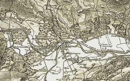 Old map of Comrie in 1906-1907