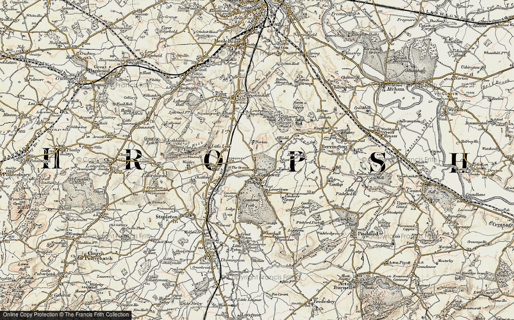 Old Map of Historic Map covering Allfield in 1902