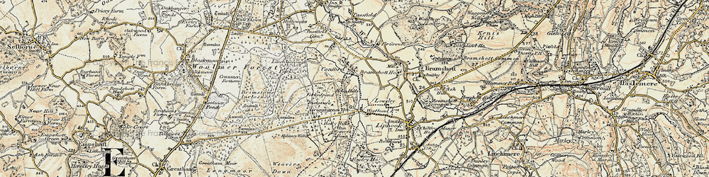 Old map of Woolmer Forest in 1897-1900