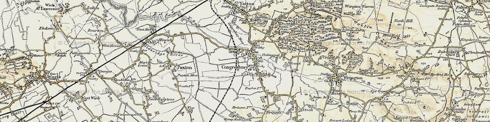 Old map of Congresbury in 1899-1900