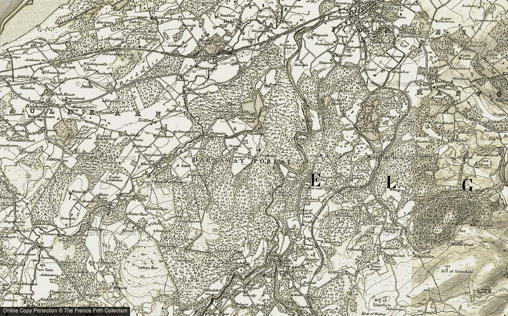 Old Map of Historic Map covering Altyre Woods in 1910-1911