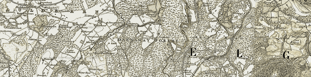 Old map of Altyre Woods in 1910-1911