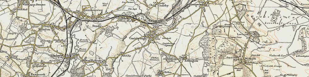 Old map of Conisbrough in 1903