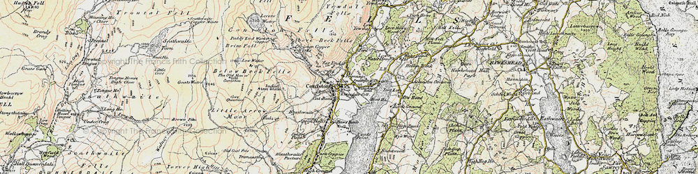 Old map of Coniston in 1903-1904