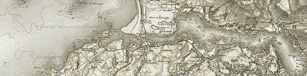 Old map of Connel in 1906-1908