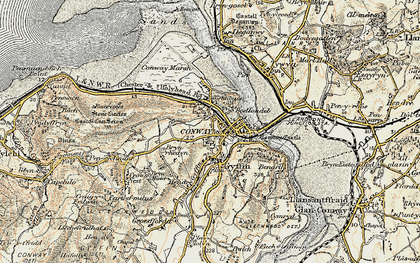 Old map of Conwy in 1902-1903