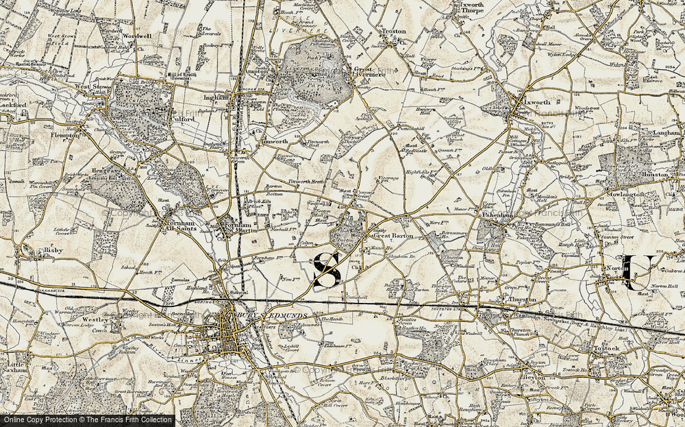 Old Map of Historic Map covering Timworth Heath in 1901