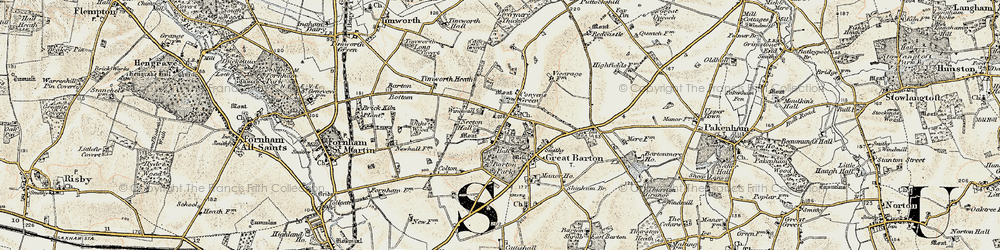 Old map of Timworth Heath in 1901