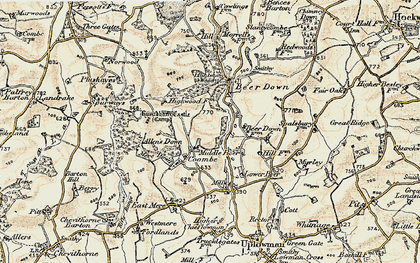 Old map of Coombe in 1898-1900