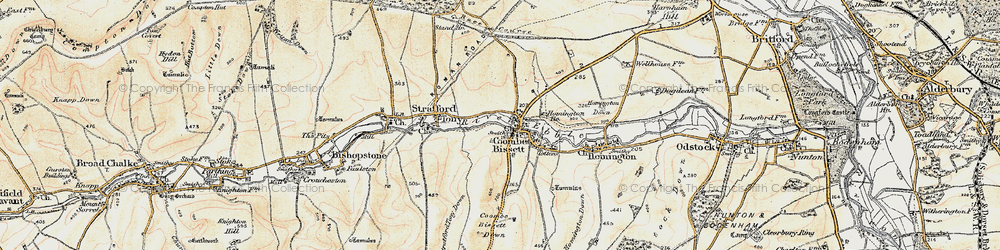 Old map of Coombe Bissett in 1897-1898