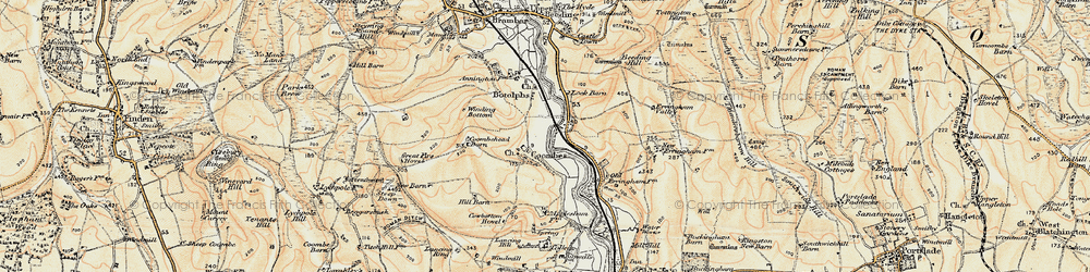 Old map of Winding Bottom in 1898