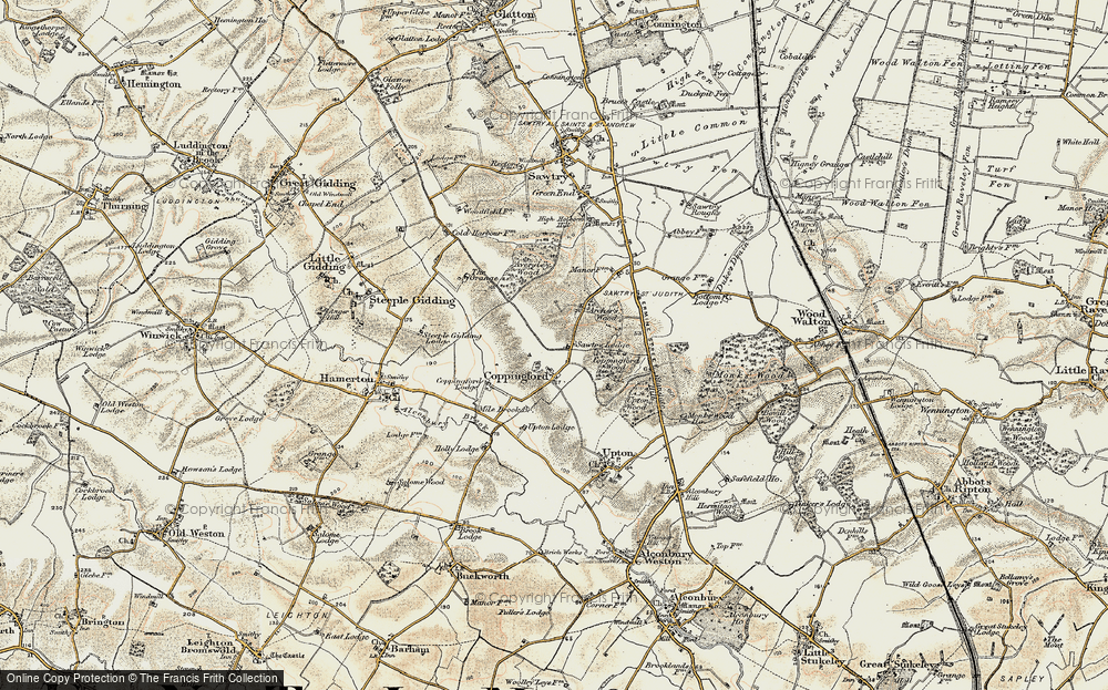 Old Map of Historic Map covering Aversley Wood in 1901