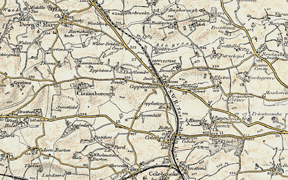 Old map of Copplestone in 1899-1900