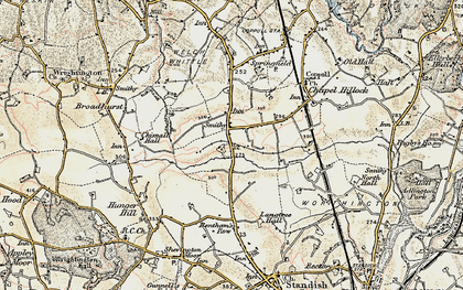 Old map of Langtree Old Hall in 1903