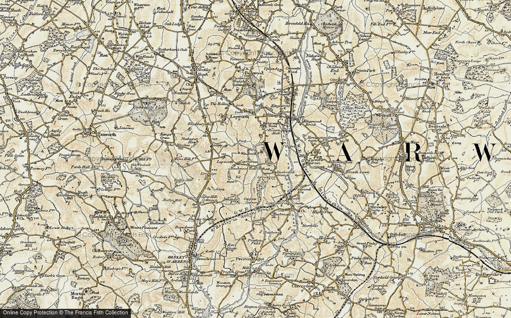 Old Map of Historic Map covering Lapworth Park in 1901-1902