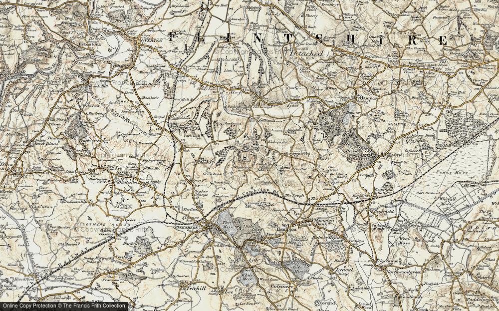 Old Map of Historic Map covering Lionlane Wood in 1902