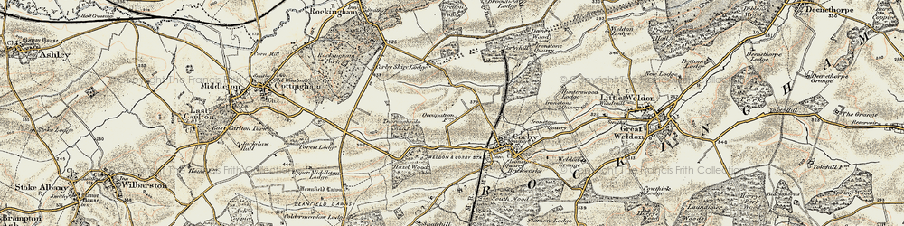Old map of Corby in 1901-1902