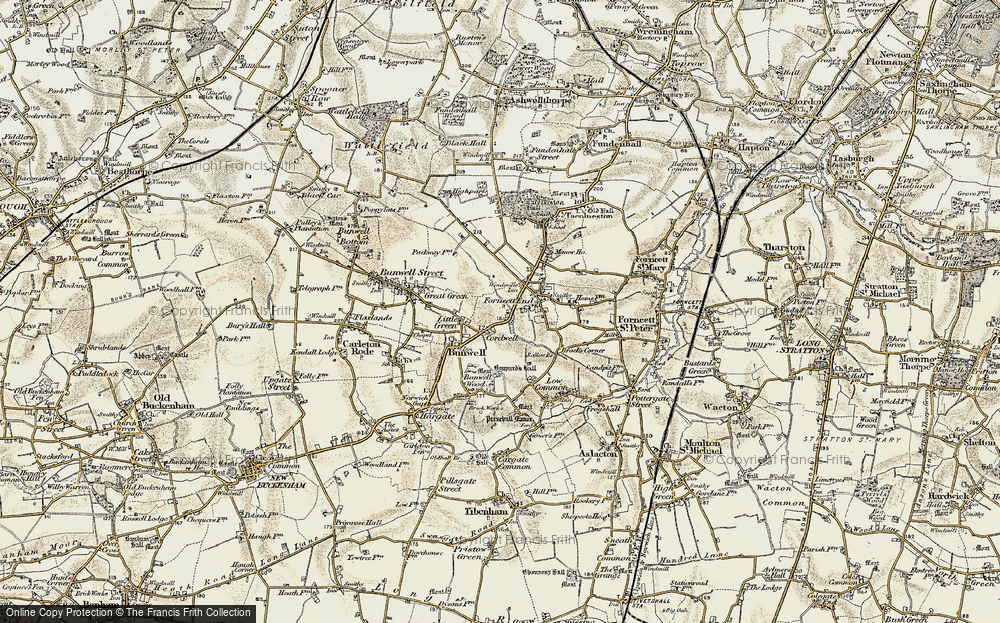 Old Map of Historic Map covering Banyards Hall in 1901-1902